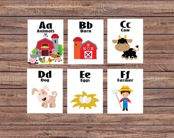 Farm Animals, Educational Toys, Learning Toys, Printable Flash Cards, Alphabet Cards, Alphabet Wall Cards, Instant Download, Nursery Decor
