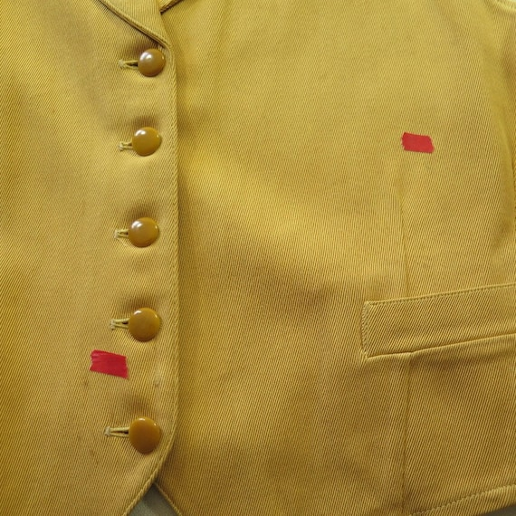 0 Beckers 30s Depression 10 I01Z Small Bakelite Waistcoat Vintage Gabardine Vest zqPAa