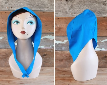 1940s hood / 1940s head piece by Thirkell / blue cotton head scarf