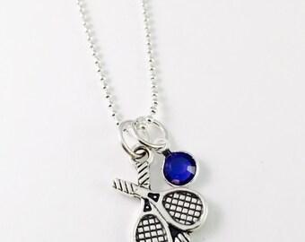 "Tennis necklace, Tennis Coach necklace, Tennis Racket charm, 20"" silver plated ball chain necklace, tennis team, swarovski 6mm birthstone"
