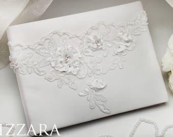 Wedding book white Guest Book wedding Ideas Book wedding Memory book guestbook flowers Wedding book white lace silver Guest book white