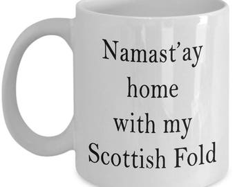 Namast'ay Home With My Scottish Fold Cat Funny Coffee Mug - Novelty Scottish Fold Cat Lovers 11/15oz Ceramic Coffee Gift Mug