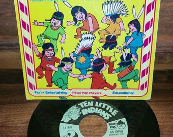 Ten Little Indians The Counting Song Vintage Vinyl 45 RPM Record