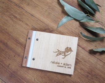 Love Birds Wedding Guest Book, Wedding Album, Wood Guestbook or Engagement Gift