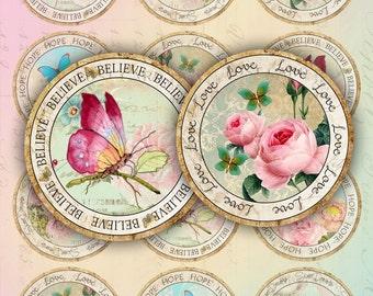 circles stamp - 2.5 inch circles - set of 12 - digital collage sheet - pocket mirrors, tags, scrapbooking, cupcake toppers