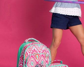 Monogrammed Backpack-- Book bag Monogrammed -- Lunch Box monogram-- -- Monogrammed Bookbag and Lunch Box-- Mint- Coral