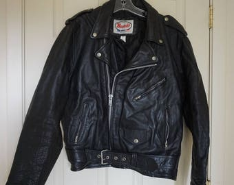 Vintage Black Leather Motorcycle / Biker Jacket MENS Size 46 long Large XL 1980s 1990s 80s 90s distressed XXl by Route  66
