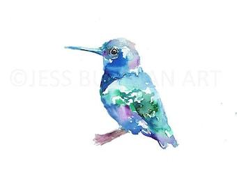 """Original watercolor painting, 11"""" x 14"""" """"Baby"""" Hummingbird Original Painting, Original Bird Painting, Fine Art Watercolor Bird, Bird Art"""