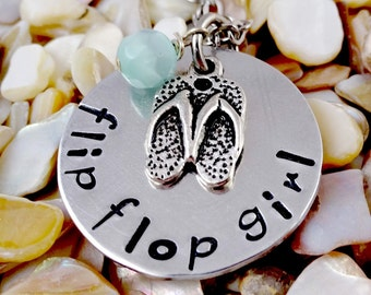 Flip Flop Girl Beach Necklace - Cruise Jewelry - Ocean - Vacation