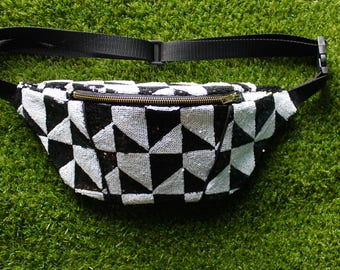 Black and white Sequinned bumbag/ fanny pack/ festival bag