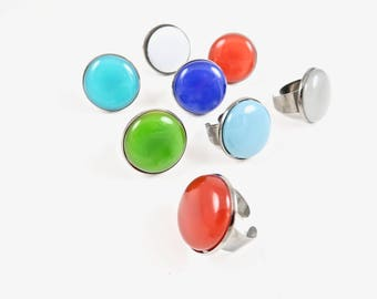 Adjustable Fused Glass Round Cocktail Ring