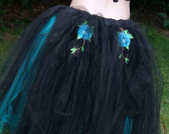 Black and Teal Gothic Tea Length Embroidered Roses Wedding Skirt adult Small MTCoffinz --- Ready to Ship