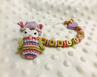 Pacifier with name OWL crochet