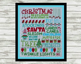 Christmas Subway Poster Cross Stitch Pattern PDF