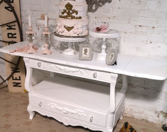 Painted Cottage Chic Shabby French Server/ Buffet / Sideboard SV640