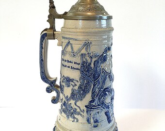 Whites of Utica Antique Beer Stein Bier Stein Circa 1890s Hugo Billhardt German Style Lidded