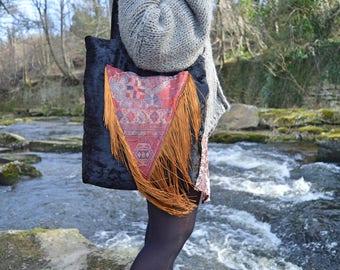 Boho bag Fringe bag Bucket bag Tote bag Handmade bag Boho fringe bag Festival bag Bohemian bag Shoulder bag Gift for her Mother's day gift