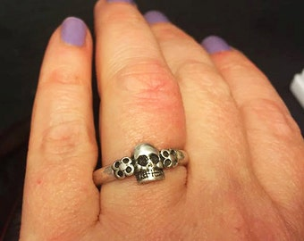 Sterling Silver Skull Memento Mori Ring with Flowers