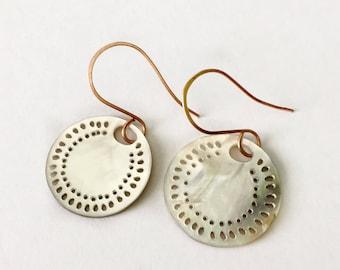 Carved Mussel Shell Medallion Earrings Tsalagi Cherokee Made