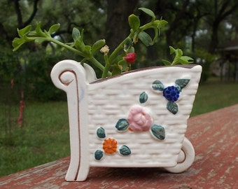 Vintage 1950's / 1960's Small Flower Cart Planter or Holder-Cottage Chic