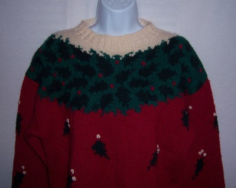 Vintage American Eagle Holly Christmas Holiday Red Green Off White Heavy Wool Sweater Medium Xmas Holly Berries AE