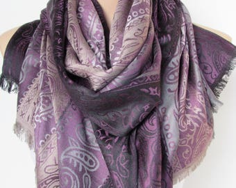 Purple Gray and Black Pashmina Scarf Oversize Scarf Fall Winter Scarf Large Scarf Women Fashion Accessories Holiday Christmas Gift Ideas