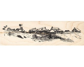 Houses on Hill 1344M Beeswax Rubber Stamps Architecture Mounted Stamp Building Stamping
