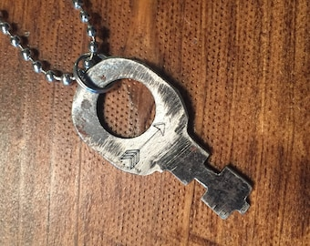 Key Necklace - hand stamped - with an arrow
