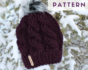 PATTERN // Cable Knit Beanie Pattern // Beanie Pattern // Knit Pattern // Hat Pattern // Knit Hat Pattern // Knit Beanie Pattern // ADULT