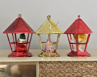 Vintage Plastic Red and Gold Lantern Ornaments