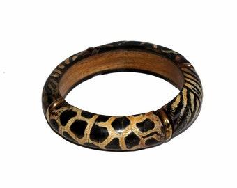 Set Of 2 Pcs Natural Bone Handmade Tiger Print Brown Bangles / Wooden Bangle / Vintage Brass Bracelets / Bohemian Bangle /Hippie Bangles H24