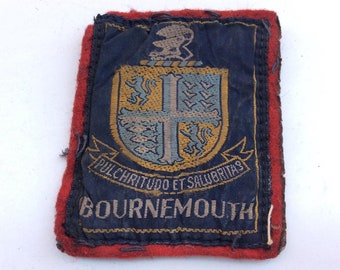 Vintage 1970s era Bournemouth Souvenir Fabric Sew on Patch