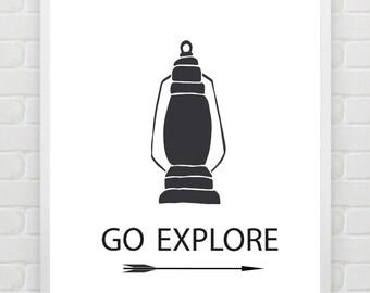 Quote Print, Printable Typography Print, Arrow Print, Go Explore, Kids Room Print, Travel Print, Nursery Wall Art Minimalist Black White Art