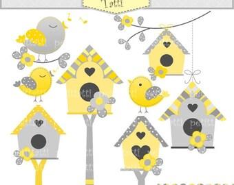 ON SALE bird clip art - INSTANT Download, Digital clip art - Birds and Birdhouse, Birds, flowers, birdhouse, yellow and gray