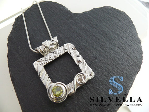 Large Silver Peridot Pendant - Silver Necklace - Statement Necklace - Hallmarked in London