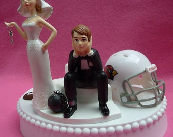 Wedding Cake Topper Arizona Cardinals Cards Football Themed Ball and Chain Key w/ Garter Bride and Groom Sports Fan Humor Funny Original Fun