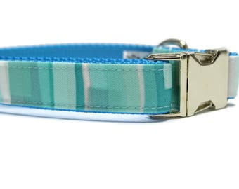 Canvas Dog Collar | Blue Stained Glass Canvas Dog Collar | Summer Dog Collar | Blue Dog Collar | Striped Dog Collar | Strong Dog Collar