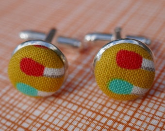 Yellow Matchstick Fabric Button Silver Plated Cufflinks