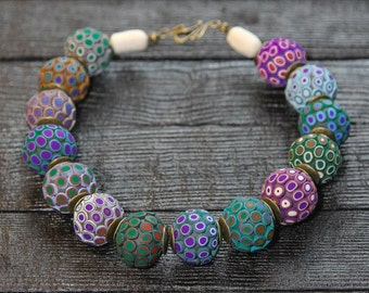Statement necklace Purple necklace Green necklace Big Bead Necklace Large Beaded Necklace Boho Necklace Big Bold Chunky Necklace
