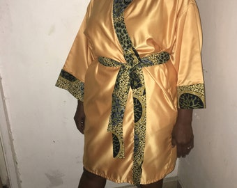 Gold satin with Ankara African print trim robe kimono