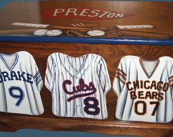 Toy Box Junior Varsity Custom sports Jerseys, wooden hand-made and painted chest, kids furniture, personalized name, birth date