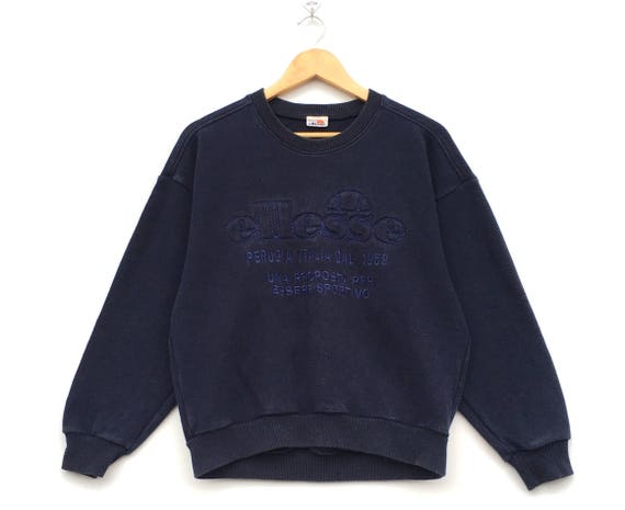 Rare!! Vintage Ellesse Tennis Spellout Embroidery Striped Half Button Pullover Jumper Sweatshirt QDOt1S