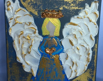 Angel with puffy paint and mixed media