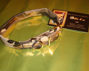 Faux leather type beige camouflage dog collar