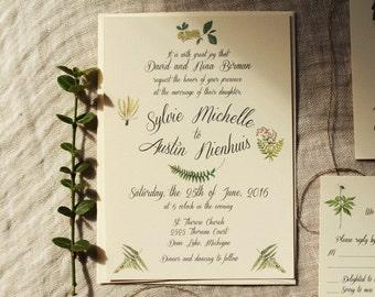 Fern Wedding Invitation Suite | Boho Wedding Invitation Printable | Barn Wedding Invitation Handmade | Rustic Wedding Invites Greenery