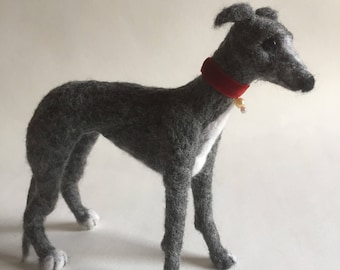 Pearl the Needle Felted Grey & White Whippet Dog Sculpture