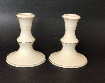 Lenox Candle Holders, Lenox China Candlesticks, Illuminations, Versailles, Ivory w Platinum, Made in USA, Pair Candle Holders,Taper Holders