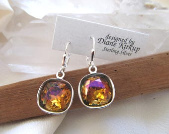 Special Edition Swarovski Mahogany Crystal Earrings Presented On Sterling Silver Lever Back Findings