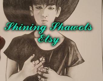Kpop SHINee Key Kibum 6X8.5 graphite print traditional artwork