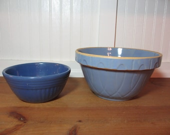 "2 Vintage Blue Pottery, Oven Ware Bowls, 7"" and 9"", Kitchen, Mixing Bowl, Watt Pottery, See Description"